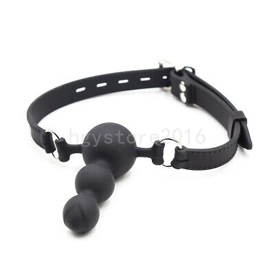 Slave Full Silicone Open Mouth Gag Oral Three Beeds Ball Restraints Locked Toys