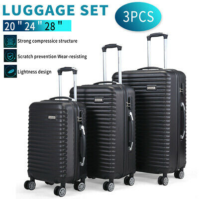 3 Piece Luggage Set Trolley Travel Suitcase Nested Spinner ABS+PC w/ Cover Black