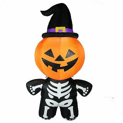 Inflatable Pumpkin Skeleton Witch Hat 6 ft LED Lights Yard Decoration Halloween