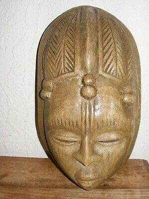 Wooden Hand Carved Tribal Mask Decorative Ornamental Display