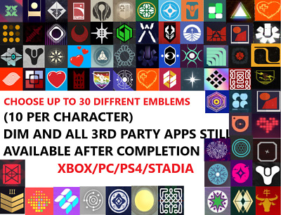 Destiny 2 Emblem Package - Choose 10 emblems - [NO CODE] [PS4/PC/XBOX] Read Desc