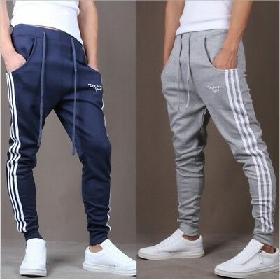 Mens Gym Slim Fit Trousers Sweat Pants Tracksuit Joggers Skinny Sports Bottoms