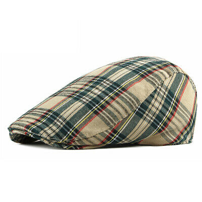 Cotton Men's Plaid Newsboy Cap Ivy Golf Flat Cabbie Summer Gatsby Cap