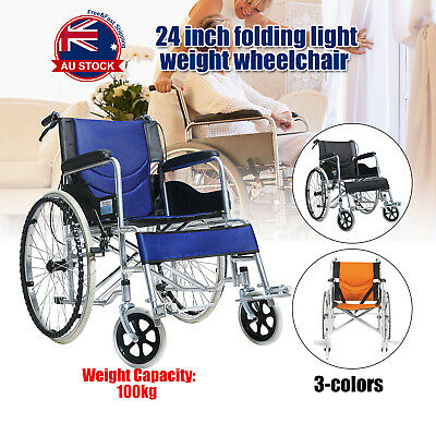 "24"" Lightweight Folding Wheelchair Armrest Park Brakes Footrest Mobility Aid C"