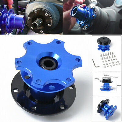 Car Steering Wheel Quick Release Hub Adapter Snap Off Boss Kit with Screws Blue