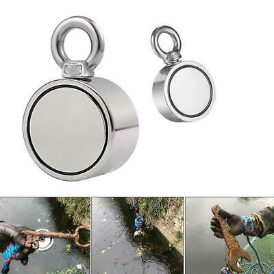 Round Double Sided Super Strong Neodymium Fishing Magnet Pulling For 80KG  q w
