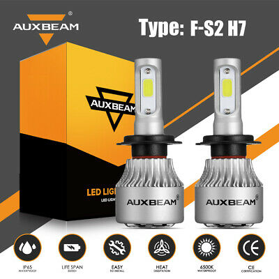 AUXBEAM H7 LED Headlight 72W 8000LM Car Motorcycle HID Lamps 6500K High or Low