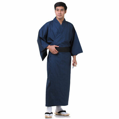 Traditional Japanese Men Yukata Kimono Vintage Samurai Robe Obi Cotton Blue