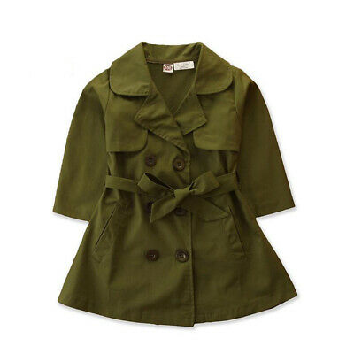 Kids Girl's Bow Trench Coat Outdoor Windbreaker Jacket Double-breasted Outerwear