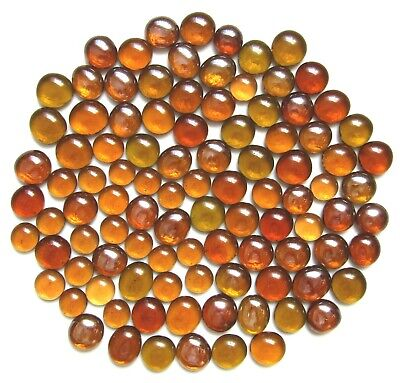 100 x Shades of Ancient Amber Glass Mosaic Pebbles Nuggets Stones Assorted Sizes
