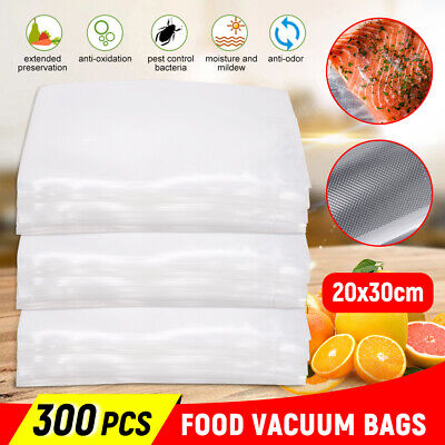 300pc Food Storage Vacuum Sealer Bags Transparent Precut Heat Cool Saver Cryovac