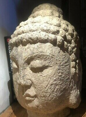 ANTIQUE Ancient Chinese Carved Stone BUDDHA Head, Tang Dynasty ? 5th to 7th C ?