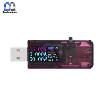 USB 0.96'' IPS color HD LCD Screen Voltage Current temperature Capacity Tester