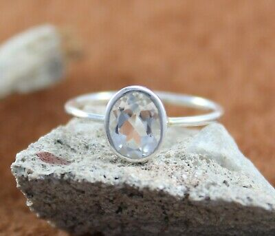 Natural White Topaz 6 X 8 MM Oval Cut 925 Sterling Silver Handmade Jewelry Ring