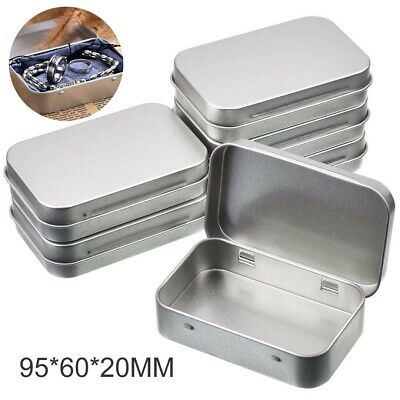 6Pcs Small Rectangular Empty Metal Tins Hinged Jewellery Coins Box Kit Container