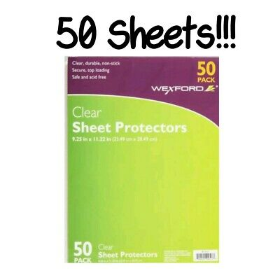 "Wexford Sheet Protectors Clear Durable 9.25"" x 11.22"" 50 Pack 3 Ring Binders New"