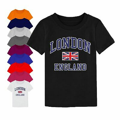 I Love London England Union Jack T Shirt Birthday Gift Youth Boy Girl Kids Top