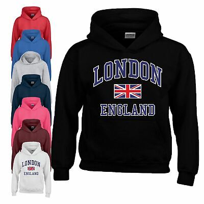 I Love London England Union Hoodie Birthday Gift Youth Boy Girl Kids Hoody Top