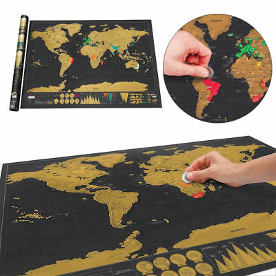 Mini Scratch Off World Map Deluxe Edition Travel Log Journal Poster Wall Decore