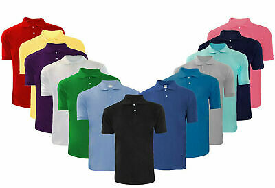 Mens T Shirts Pique Polo Shirt Plain Polycotton T-Shirts Tops S-5XL Multi-color