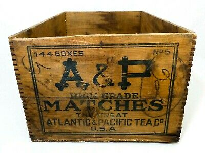 'A & P Matches' (Atlantic & Pac. Tea Co) Vint Wood Box Crate W/Blue Ink Stamping