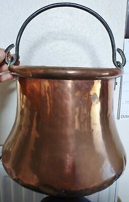 LARGE HEAVY ANTIQUE FRENCH COPPER CAULDRON / LOG BASKET / POT / PLANTER c1800's