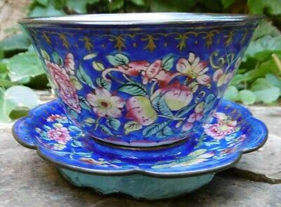 Chinese Enamelware Bronze Cloisonne Bowl & Stand with Butterfly Emaillé