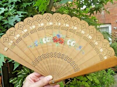 Vintage Chinese Bamboo Hand Crafted Fan Hand Painted with Flowers