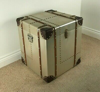 Square Side Table Storage Chest INDUSTRIAL / RETRO VINTAGE ALUMINIUM BOX / TRUNK