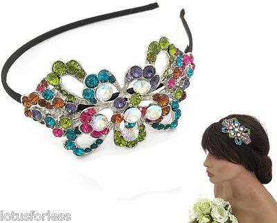 Diamante Tiara Headband with coloured crystals Bridal