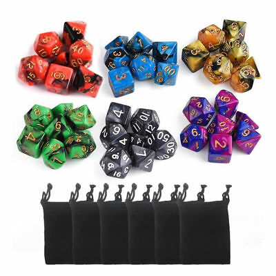 6 Set 42pcs Polyhedral Dice DND RPG Game Poker Card Dungeons Dragons Party +bags