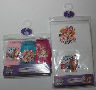 PAW PATROL Girls Cotton Briefs/Knickers & Vests Set  - 18 Months-5 Years