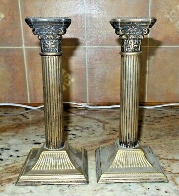 """Pair of Beautiful, Ornate, Vintage 8"""" Solid Brass Candle Holders, Candlestick"""
