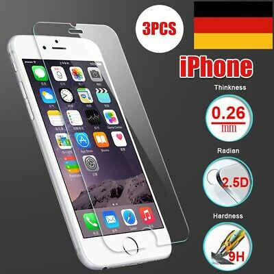 3x 9H HD Panzer Glasfolie Für iPhone 6 6s 7 8 Plus Echt Glas Displayschutz Folie