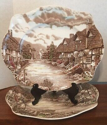 """2 Vintage Johnson Brothers Olde English Countryside 12"""" Serving Platters 2"""