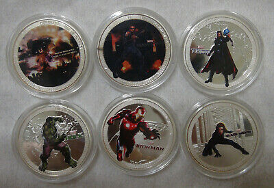 Set of 6 coin MARVEL AVENGERS. Age of Ultron. souvenir coin.