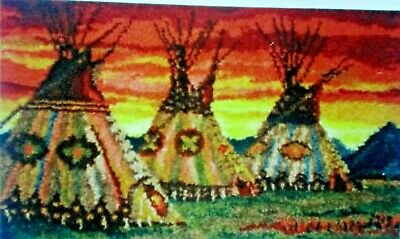 "LATCH HOOK RUG  KIT ""TEEPEE SUNSET"" Indian design by Mary Maxim"