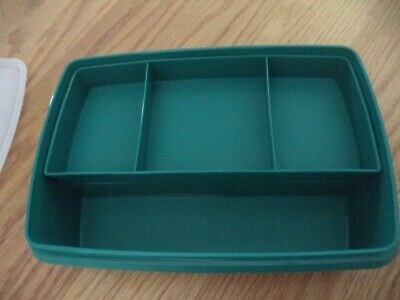 Vintage Tupperware Tuppercraft TEAL GREEN Stow N Go Craft Storage Box Container