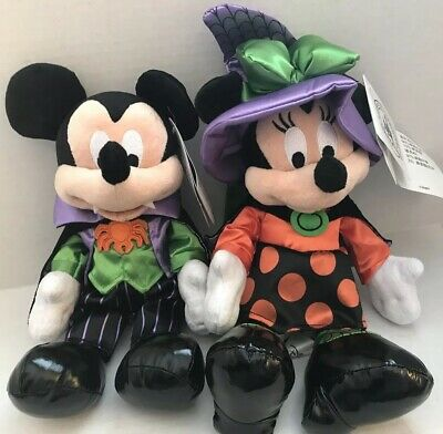 Disney Parks Exclusive Vampire Mickey & Witch Minnie Halloween Plush NEW