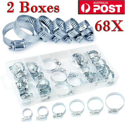 34X Stainless Steel Adjustable Range Worm Gear Hose Clamps Assortment Kit 6Size