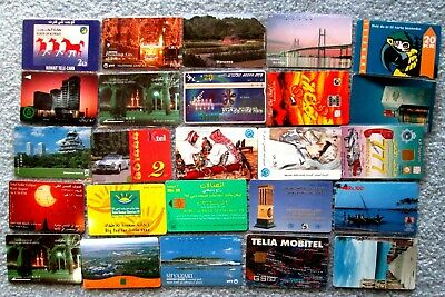 Lot of 25 Collectible Phone Cards - All Foreign No North America Cards wolu6