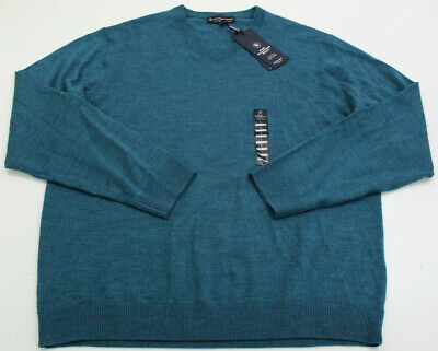 NWT Hart Schaffner Marx Extra Fine Merino Wool V-Neck Sweater Mens Large