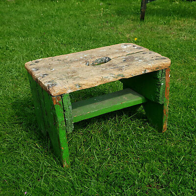 Antique Rustic Primitive Painted Foot Stool / Garden Stool