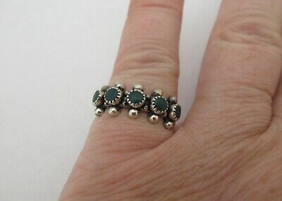Vintage 925 Sterling Silver Dark Green Turquoise Ring Sz 5 Dainty Old Pawn
