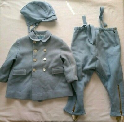 Vintage 1950s Boys Baby Blue Wool Coat Stirrup Pants Hat Winter Set Kute Kiddie