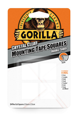 Gorilla Mounting Double Sided Sticky Fixers Pads Tape Squares - 2.5cm x 2.5cm