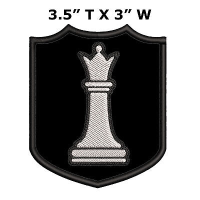 "2+/"" Metallic Silver Bishop Chess Piece Embroidery Patch"