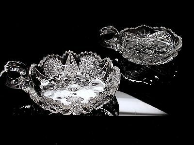 Antique ABP American Brilliant Cut Crystal Two (2) Two Nappy Bowl Sawtooth Edge