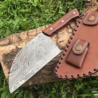 Damascus Steel Serbian Chef Cleaver Knife Hunter Skinning Camping Knife