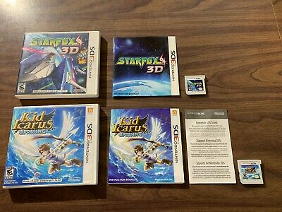 Kid Icarus: Uprising + Star Fox 64 3D (Nintendo 3DS LOT) with cases and manuals